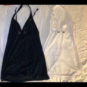 J Crew beach cover up dress terrycloth black white